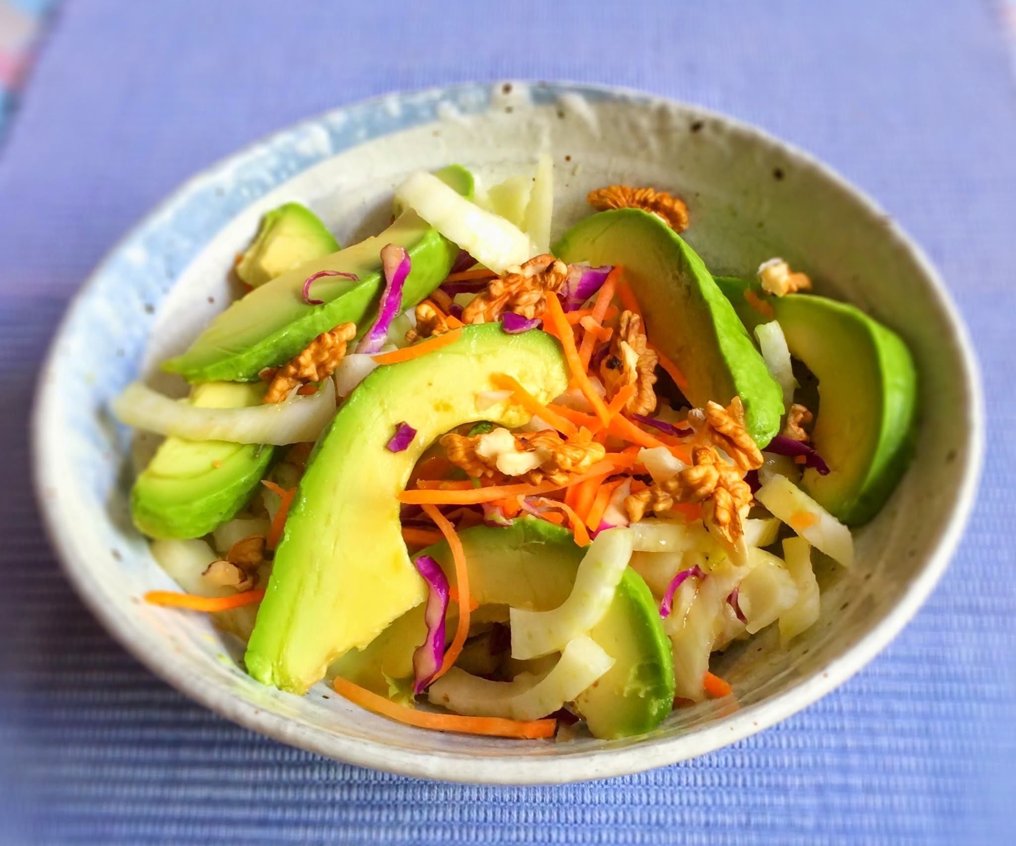 Florence Fennel and avocado salad with walnuts