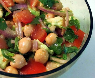Chickpea,Tomato and Avocado Salad with Chilli and Lime Dressing.