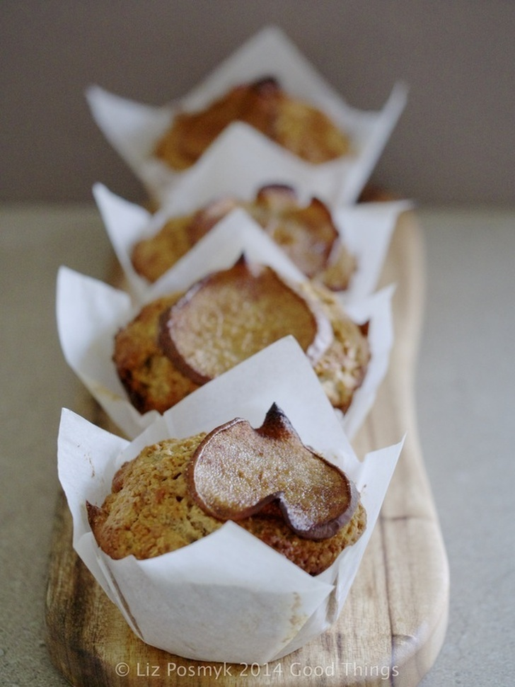 Pear, walnut and ginger wholemeal muffins