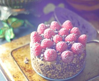 Raspberry Almond Fudge Cake