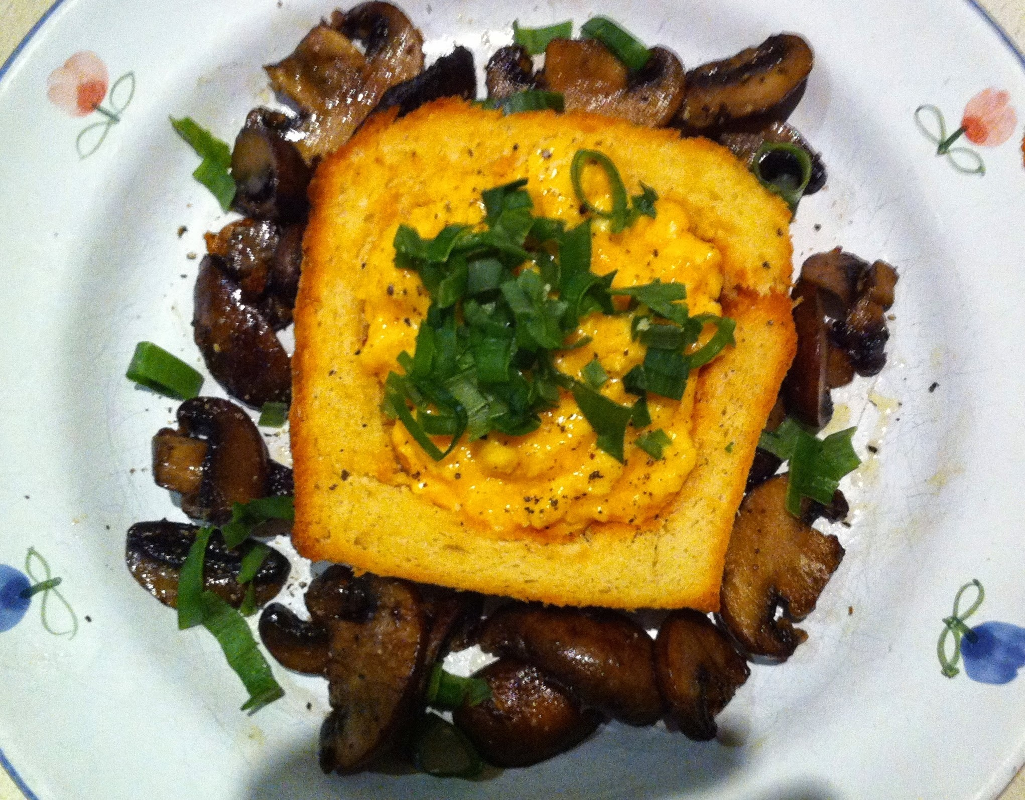 Excellent Brunch Idea - Scrambled Eggs and Mushrooms in a Toasted Bread Basket