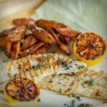 Grilled Lemon Fish with Parmesan Wedges