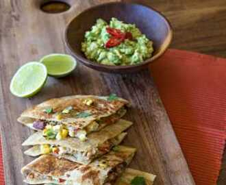 Chicken Quesadillas with Charred Corn and Smashed Avocado