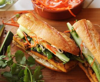 Grilled Lemongrass- and Coriander-Marinated Tofu Vietnamese Sandwiches (Vegan Banh Mi) Recipe
