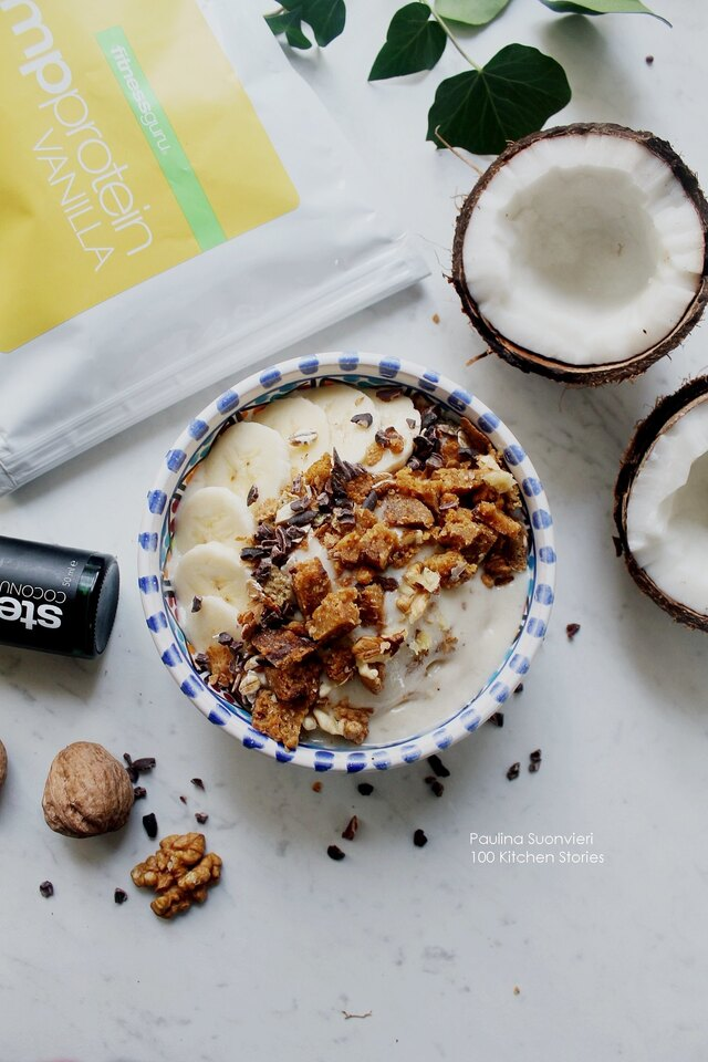 Vegan Coconut Ice Cream Bowls with Coconut and Chocolate Chip Bar.