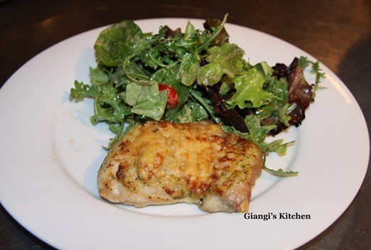 Pecorino Crusted Chicken With Arugula and Mixed Baby Green Salad