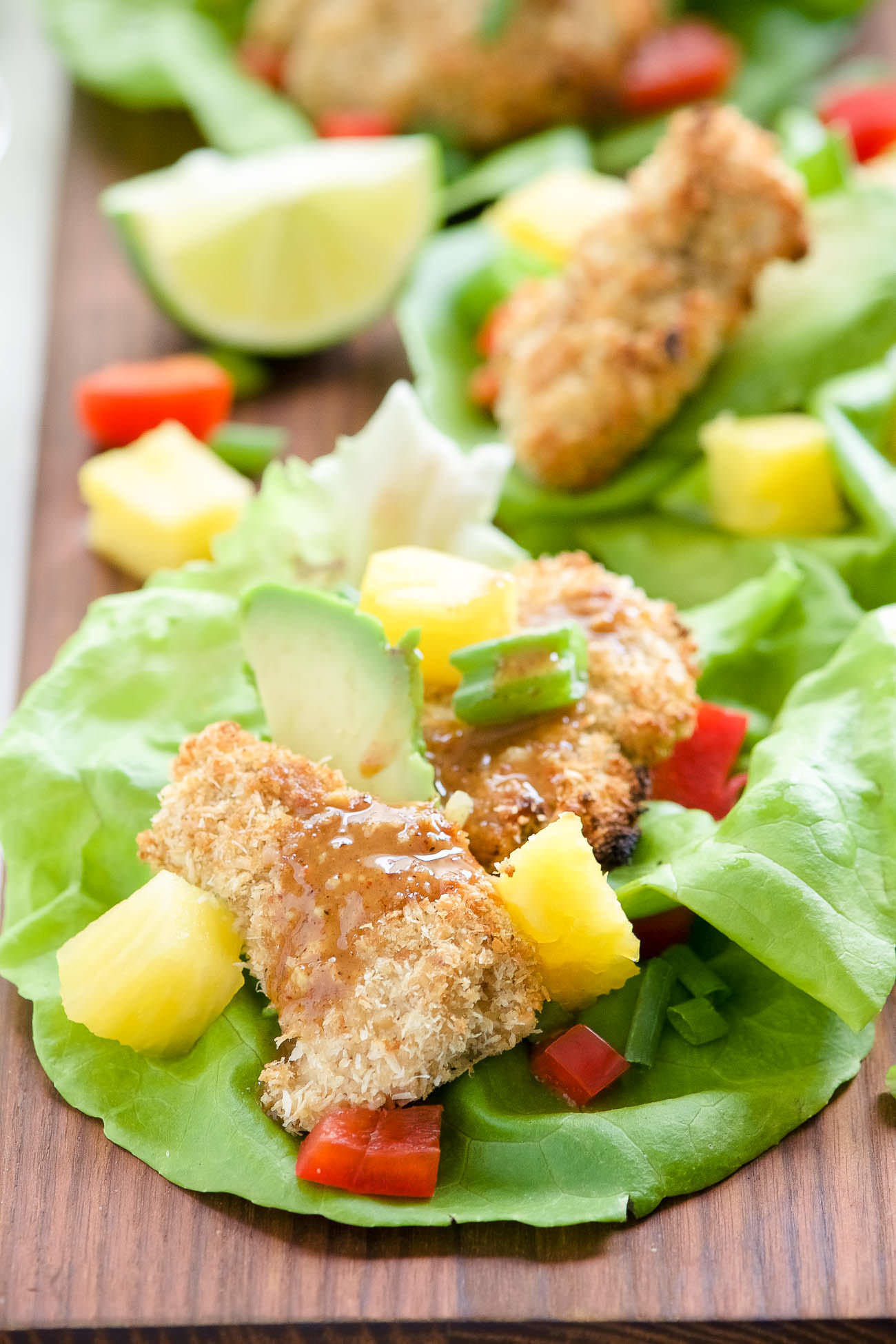 Cashew Coconut Crusted Chicken Lettuce Wraps with Ancho Honey Mustard Sauce