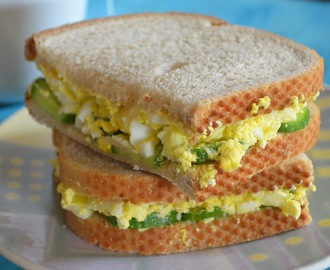 Rye Breakfast sandwich with Cucumber and Eggs
