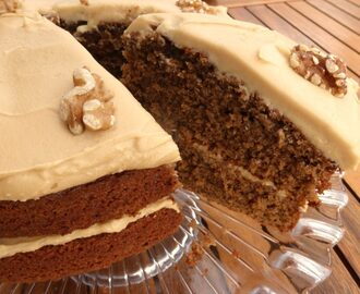 Coffee and Walnut Cake with Cream Cheese Buttercream Frosting