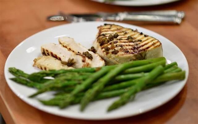 Grill up Carson's favorite meaty swordfish with crispy capers