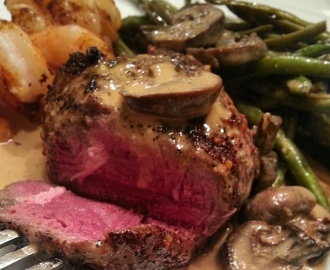 My Winter Love Language | Espresso Rubbed Filet Mignon with Bleu Cheese Mushroom Gravy