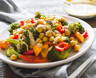 Roasted sweet potato, broccoli and chickpea recipe
