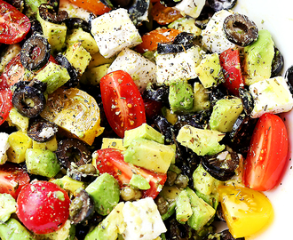 Olives and Avocado Salad with Tomatoes and Feta Cheese