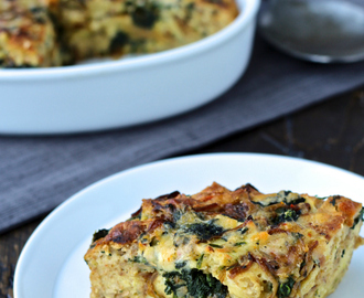 Dining with the Doc: Savory Naan Bread Pudding with Spinach and Caramelized Onions