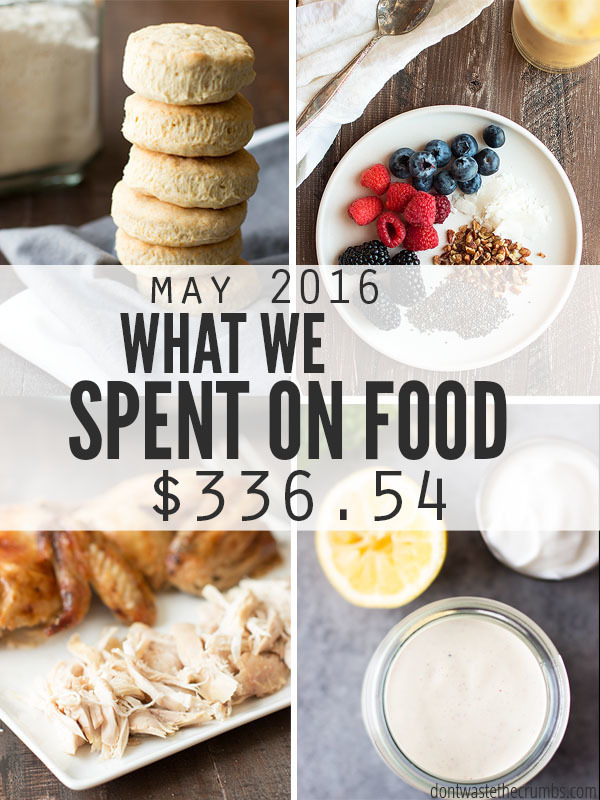 Monthly Food Budget for May 2016