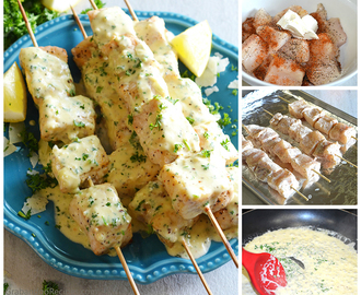 Fish Kabobs with Garlic Parmesan Cream Sauce