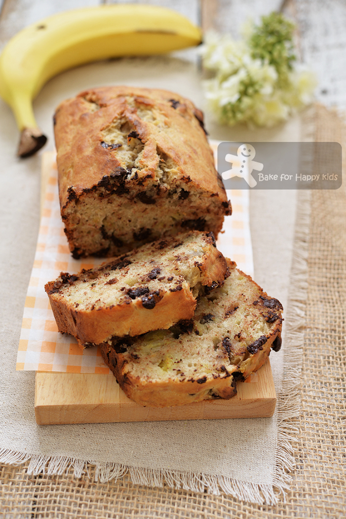 Easy Banana Chocolate Chip Bread - Fuss Free with minimal washing, only one zip lock bag and one baking tin are required!!!
