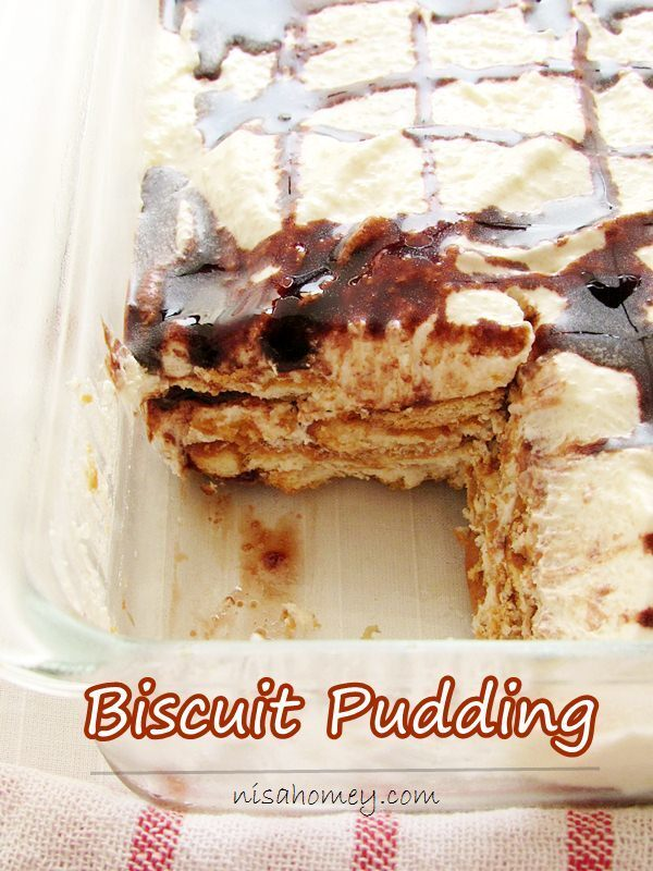 Marie Biscuit Pudding - No Bake - Eggless Biscuit Pudding
