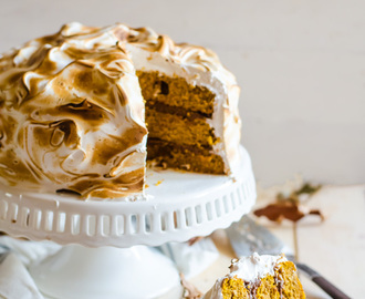 Pumpkin Cake with Ginger Chocolate and Meringue