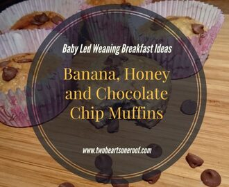 Baby Led Weaning Breakfast Ideas – Banana, Honey and Chocolate Chip Muffin Recipe