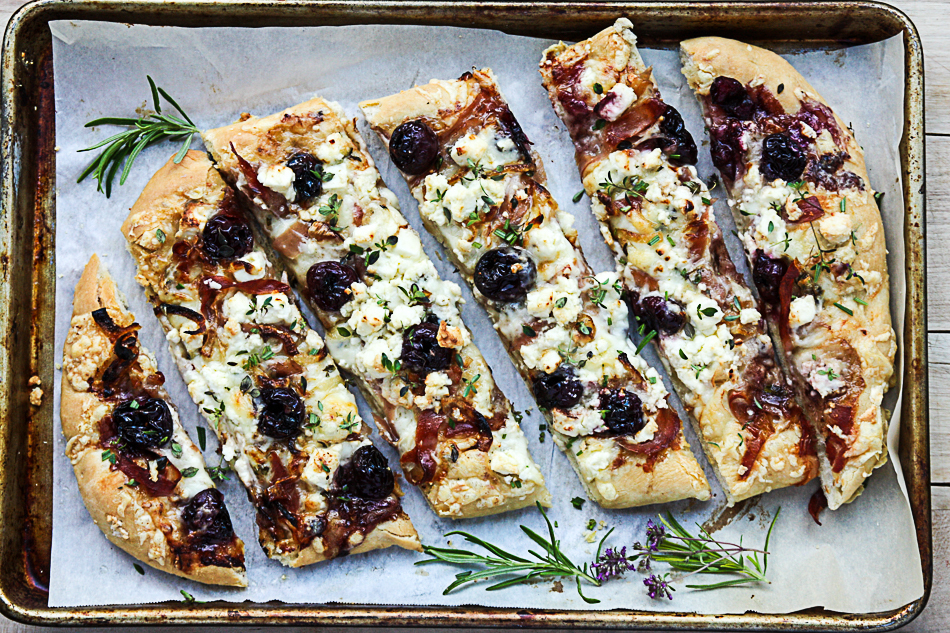 Pizza, with Balsamic Cherry, Feta and Prosciutto