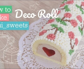 How to make cherry design Rollcake! | yunisweets Deco Roll