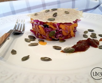 ENSALADA DE COL LOMBARDA Y CALABAZA, CON PARMESANO Y MERMELADA/ Red cabbage and pumpkin, with parmesan and marmalade