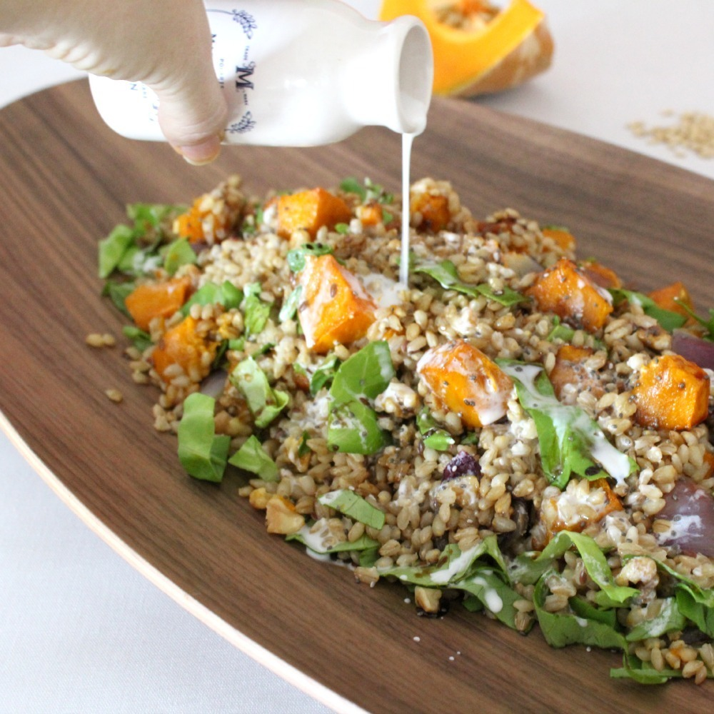 Simple Salad Series: Barley & Pumpkin Salad with Coconut Dressing