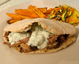 Minty aromatic pulled lamb pittas