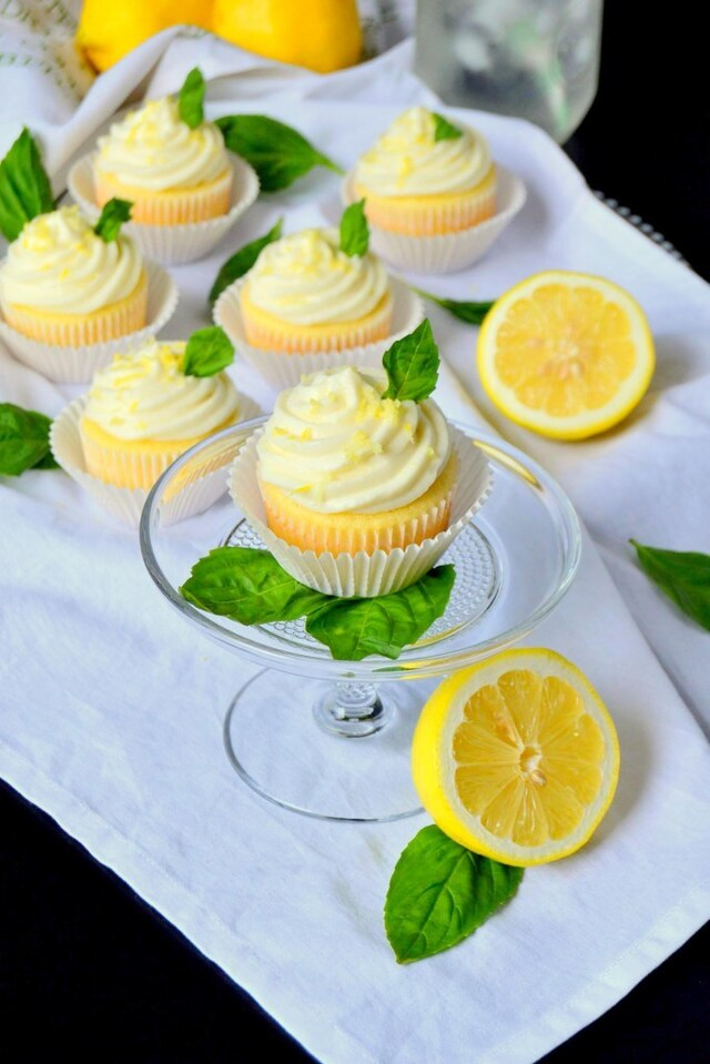 Lemon Cupcakes with Basil Whipped Cream Frosting