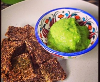 Raw Flackers with a Smashed Pea and Avo Dip