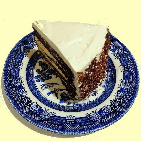 Mocha Whipped Cream Cake with Bavarian Cream Filling