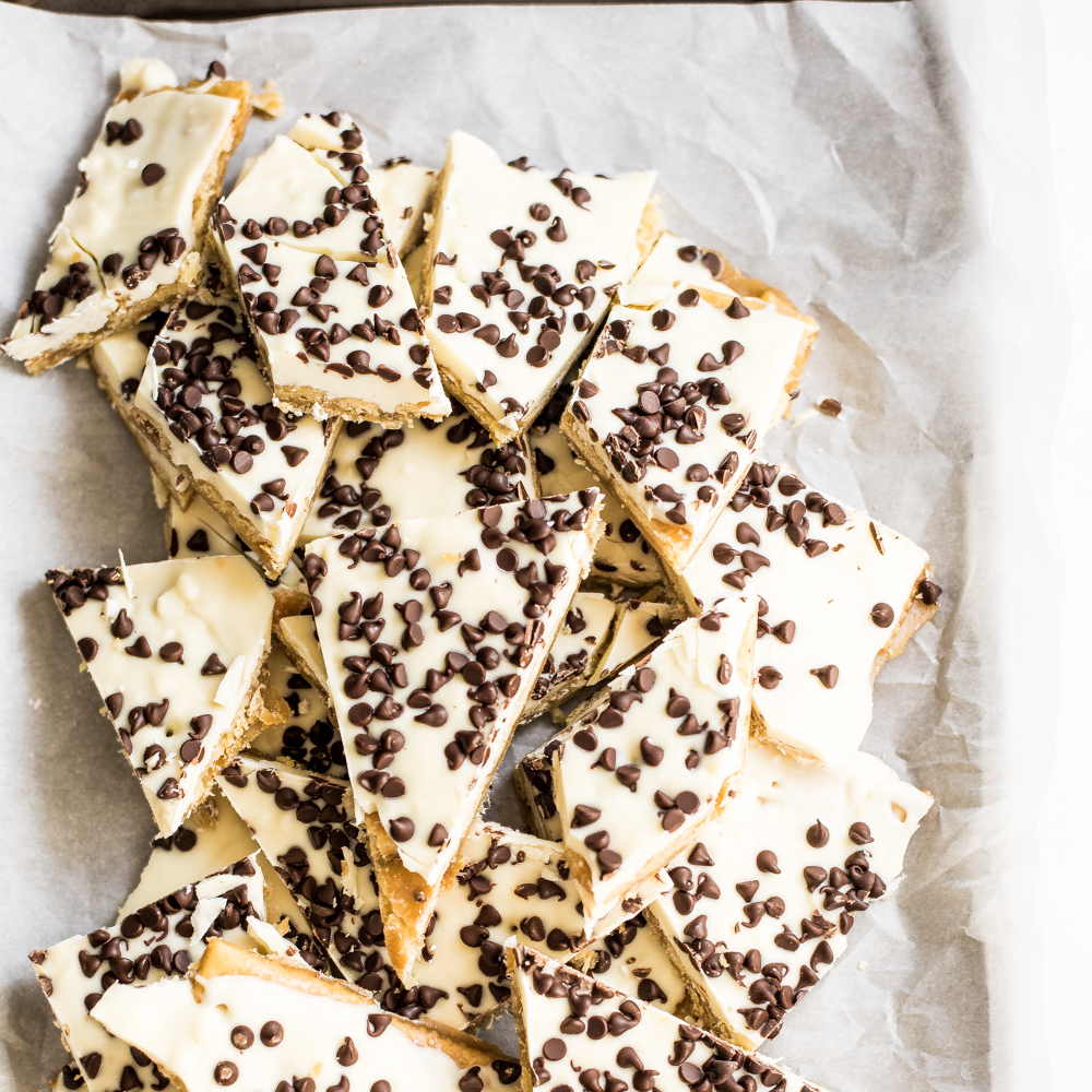 White Chocolate Cookie Dough Saltine Toffee
