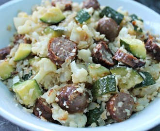 Cauliflower Fried Rice With Zucchini And Sausages (Grain Free, Low Carb)