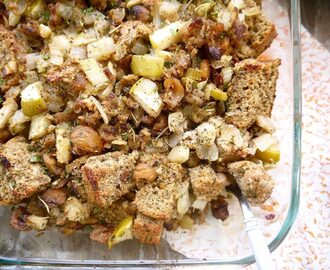 Paleo Sausage, Apple, and Chestnut Stuffing (GF)