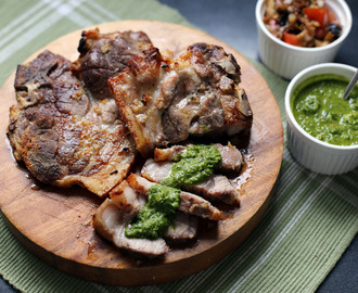 Grilled Pork Shoulders with Chimichurri Sauce