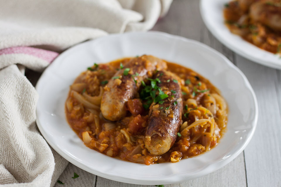 Sausage and red lentil casserole