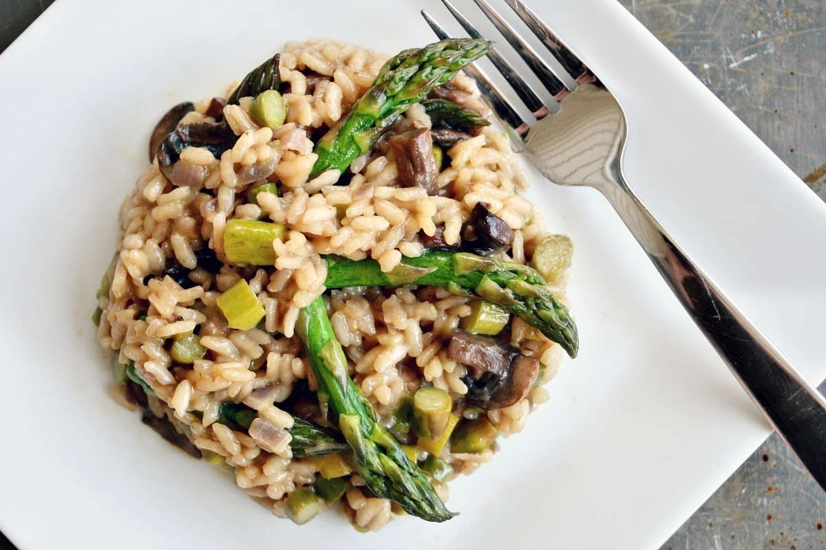 Beer Risotto with Mushrooms and Asparagus