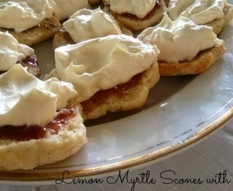 Lemon Myrtle Scones with Finger Lime Marmalade & Cream