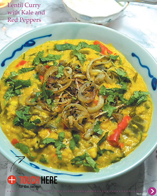 Lentil Coconut Curry with Red Pepper and Kale