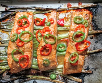 Broiled Salmon with Scallions and Sesame