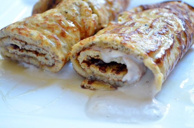 Almond and chia crepe filled with honey and coconut cream