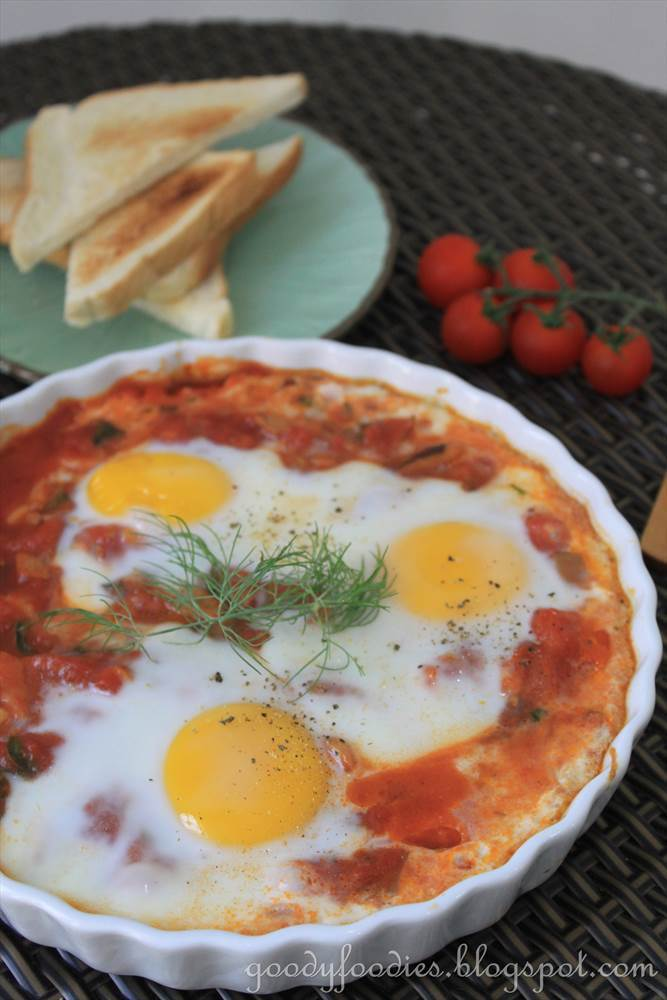 Recipe: Spanish-style baked eggs (Vegetarian) (Curtis Stone)