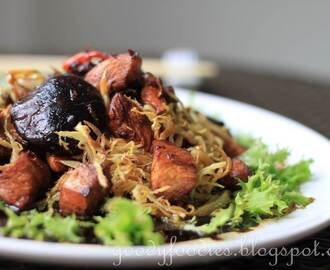Recipe: Stir fried chicken with dark soy sauce and crispy ginger