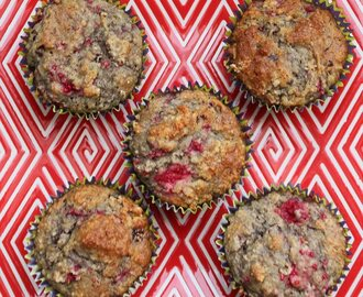 Raspberry, chocolate and ginger gluten-free muffins