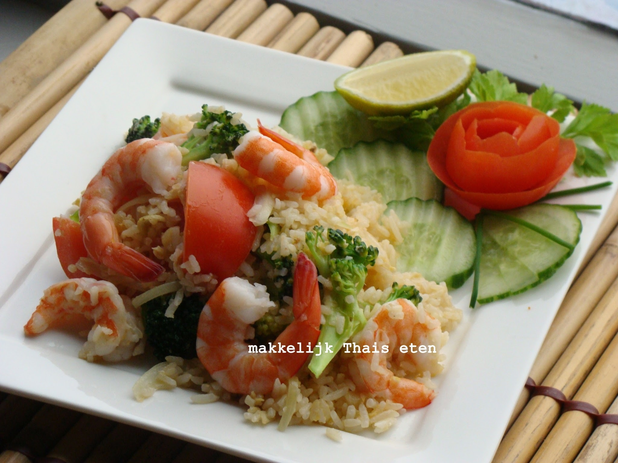 RECEPT: Thaise roerbak rijst met garnalen en ei/ Thai Egg Fried Rice with Prawn ข้าวผัดกุ้ง