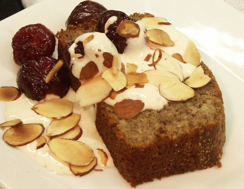 Buckwheat Banana Bread with Poached Cherries and Mascarpone