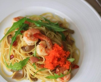 Recipe: Spaghetti with King Prawns, Ebikko and Rocket