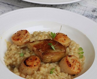 Recipe: Risotto with porcini mushrooms, seared scallops and foie gras