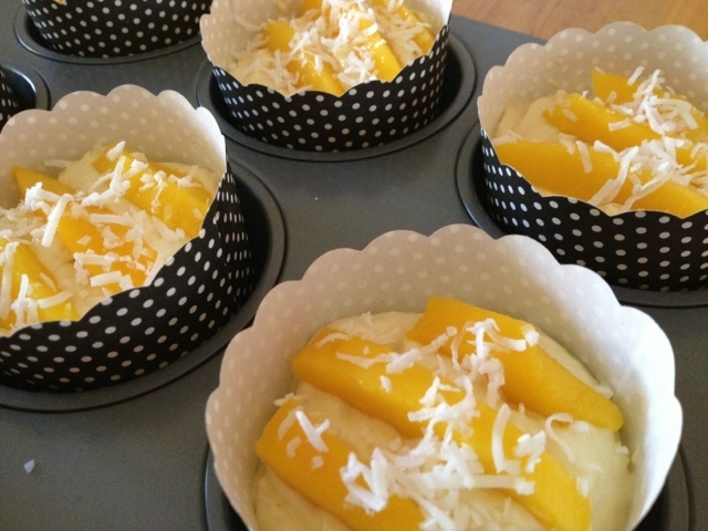 Mango and coconut cakes